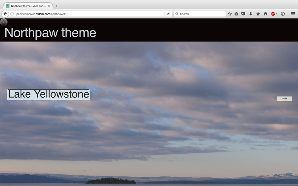 screen shot of front page featuring Lake Yellowstone