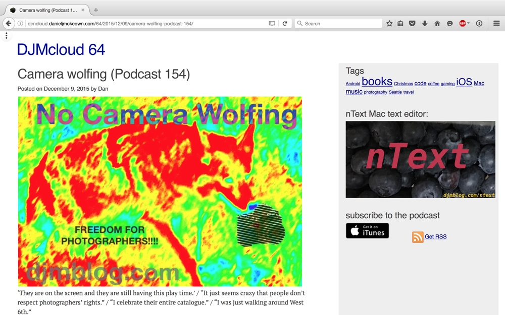 screen shot of blog post page for No Camera Wolfing